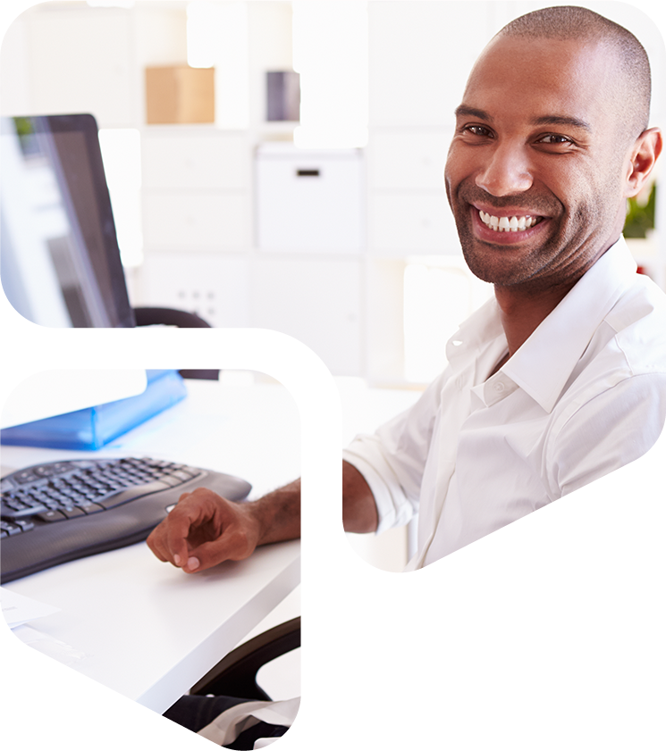 A man smiling while providing IT support in a cutout of the Parried logo.