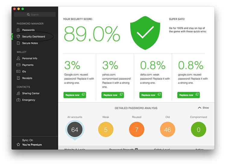 This is a bird-eye view picture of the security dashboard on Dashlane