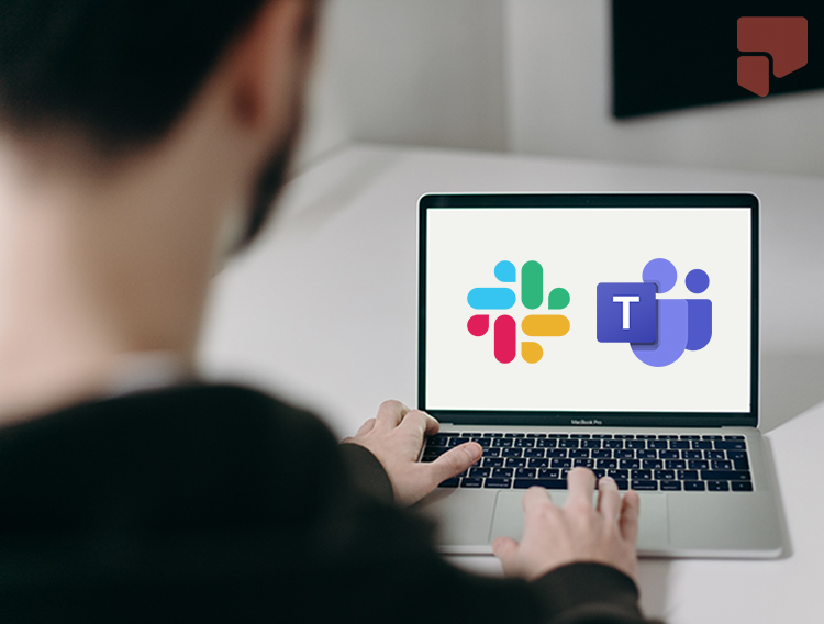 Image of a man on his computer which has both the slack and microsoft teams icon on it.