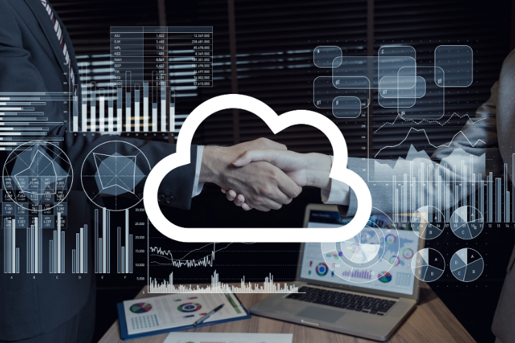 Two business men shaking hands with a cloud in the middle - representing the discussion they're having over Microsoft 365 and Google Workspaace