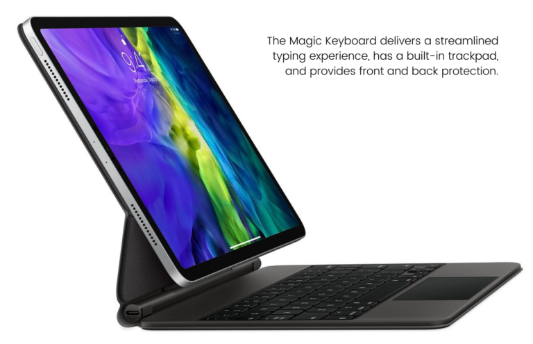 This is an image of an iPad pro with a magic keyboard