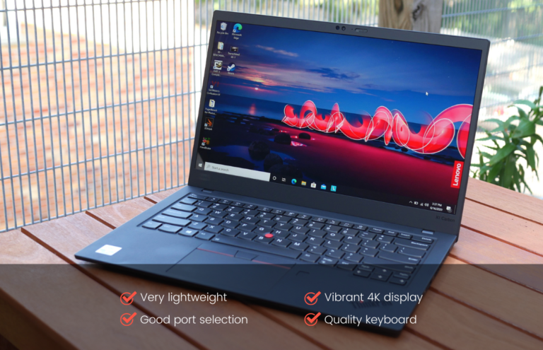 Image of a Lenovo ThinkPad X1 Carbon (Gen 8) with features listed on the very bottom