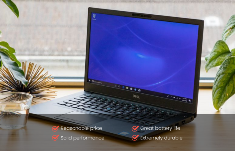 Image of a Dell Latitude 7490 with its main quality features listed on the bottom